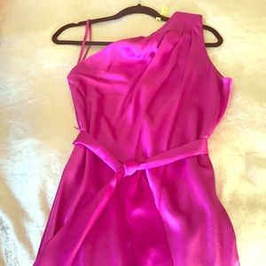 Out of this world silk fuchsia one shoulder gown